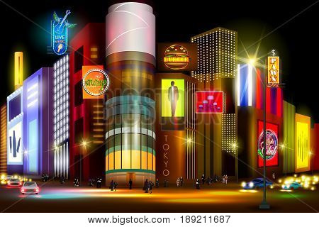 easy to edit vector illustration of city nightlife of busy street of Tokyo