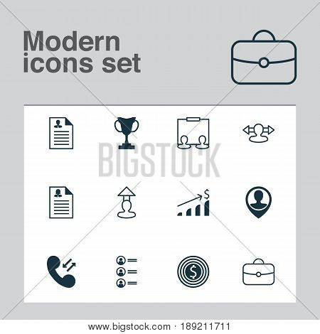 Resources Icons Set. Collection Of Destination, Publicity, Job Applicants And Other Elements. Also Includes Symbols Such As Resume, Growth, Call.