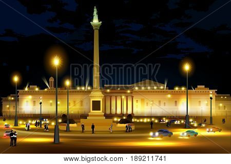 easy to edit vector illustration of city nightlife of Trafalgar Square Westminster, Central London