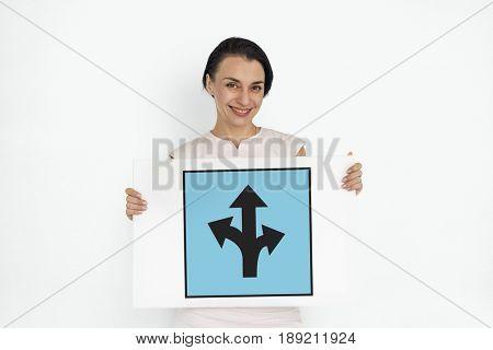 Three Ways Arrow Intersection Road Sign