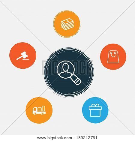 Ecommerce Icons Set. Collection Of Gavel, Dollar Banknote, Spectator And Other Elements. Also Includes Symbols Such As Present, Paper, Dollar.