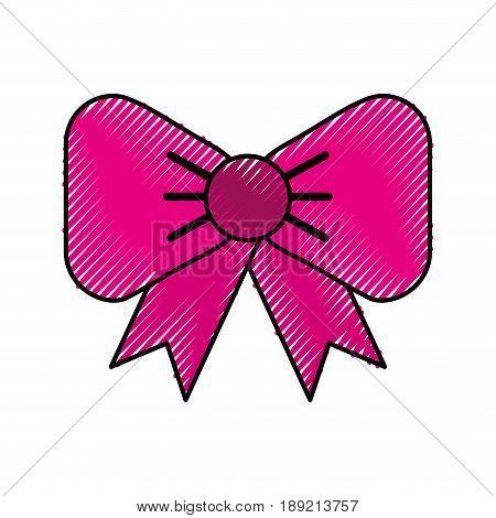 scribble cute fuchsia bow cartoon vector graphic design