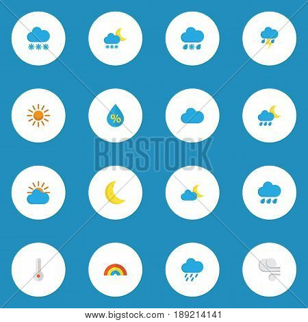 Meteorology Flat Icons Set. Collection Of Bow, Hailstones, Moon And Other Elements. Also Includes Symbols Such As Rainbow, Cloudy, Outbreak.