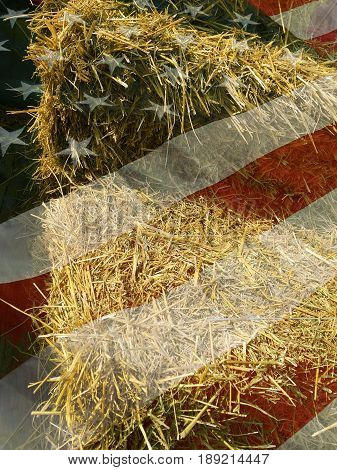 Hay and american flag country style background