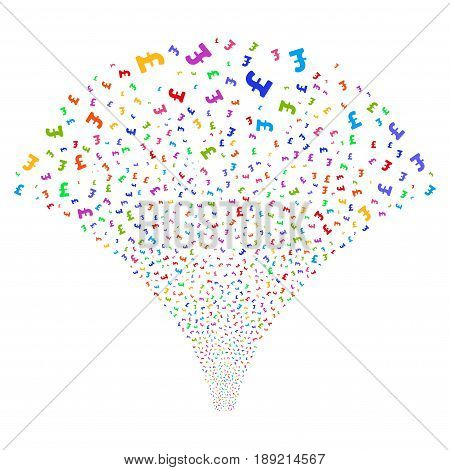 Pound Sterling salute stream. Vector illustration style is flat bright multicolored iconic symbols on a white background. Object source fountain constructed from random pictograms.