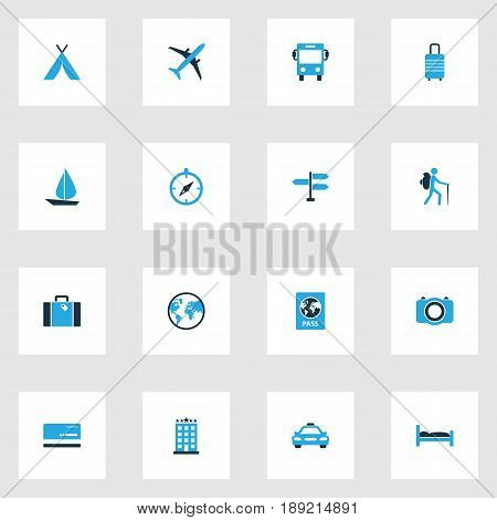 Traveling Colorful Icons Set. Collection Of Suitcase, Bus, Baggage And Other Elements. Also Includes Symbols Such As Sail, Suitcase, Earth.