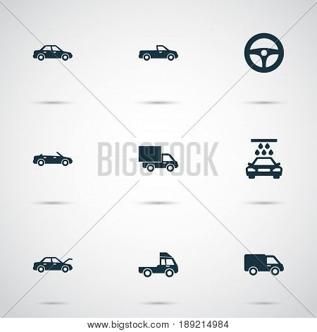 Automobile Icons Set. Collection Of Truck, Transport Cleaning, Carriage And Other Elements. Also Includes Symbols Such As Pickup, Lorry, Truck.