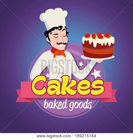 Vintage cartoon logo. Smiling man dressed in a cook cap and with a strawberry cake with frosting.
