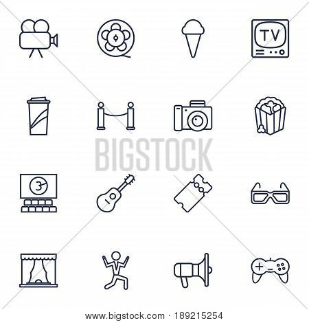 Set Of 16 Pleasure Outline Icons Set.Collection Of Cinema, Dancing Man, Film Role And Other Elements.