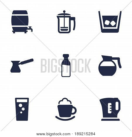 Set Of 9 Drinks Icons Set.Collection Of Cream, Soda, Bottle And Other Elements.