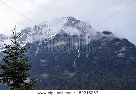 Karwendel Mountain on cloudy day. View from town Mittenwald, Bavaria, Germany