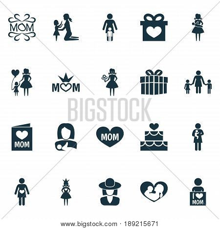 Mothers Day Icon Design Concept. Set Of 20 Such Elements As I Love Mom, Mam And Gift. Beautiful Symbols For Gift, Mom And Care.