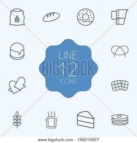 Set Of 12 Bakery Outline Icons Set.Collection Of Toast, Gloves, Measuring Cup And Other Elements.