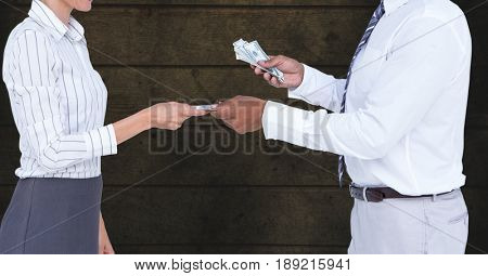 Digital composite of Midsection of businessman giving money to colleague representing corruption concept