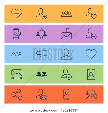 Social Network Icons Set. Collection Of Favorite Person, Significant Letter, Insert Person And Other Elements. Also Includes Symbols Such As Social, Communication, Publish.