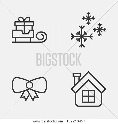 Christmas Icons Set. Collection Of Residential, Butterfly Knot, Star Snow And Other Elements. Also Includes Symbols Such As Toboggan, Present, Star.