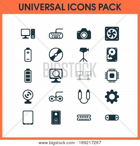 Hardware Icons Set. Collection Of Cd-Rom, Hdd, Chip And Other Elements. Also Includes Symbols Such As Gaming, Movie, Desktop.