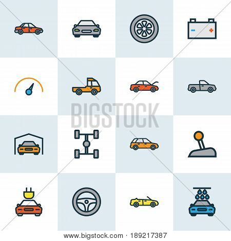 Auto Colorful Outline Icons Set. Collection Of Accumulator, Drive, Bonnet And Other Elements. Also Includes Symbols Such As Gear, Electric, Mover.