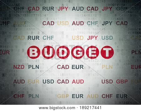 Banking concept: Painted red text Budget on Digital Data Paper background with Currency