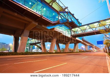 City Road Surface Floor With Viaduct Bridge