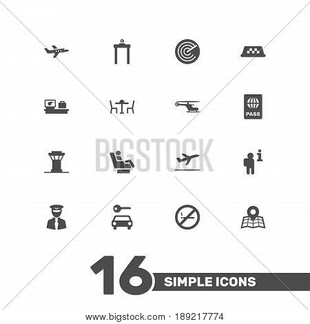 Set Of 16 Plane Icons Set.Collection Of Cab, Chopper, Automobile And Other Elements.