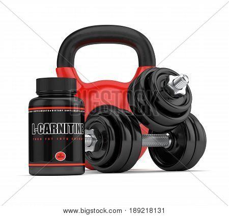 3D Render Of L-carnitine Bottle With Dumbbells And Kettlebell