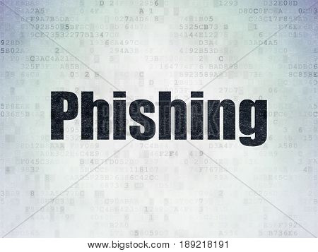 Security concept: Painted black word Phishing on Digital Data Paper background