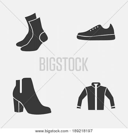 Dress Icons Set. Collection Of Sneakers, Half-Hose, Cardigan And Other Elements. Also Includes Symbols Such As Boots, Shoes, Sneakers.