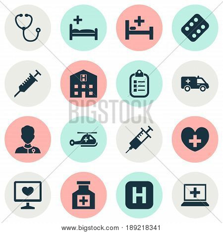 Drug Icons Set. Collection Of Heal, Injection, Healer And Other Elements. Also Includes Symbols Such As Device, Helicopter, Stings.