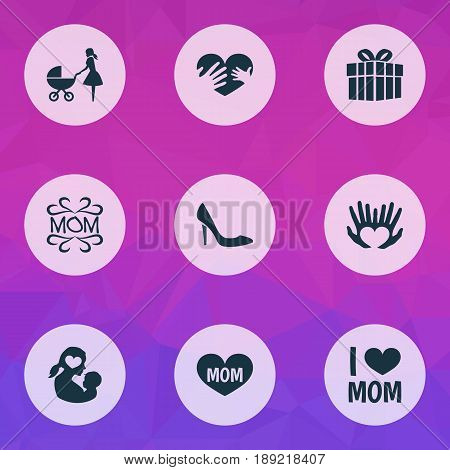 Mothers Day Icon Design Concept. Set Of 9 Such Elements As Gift, Stroller And Stiletto. Beautiful Symbols For Gift, Newborn And Loving.
