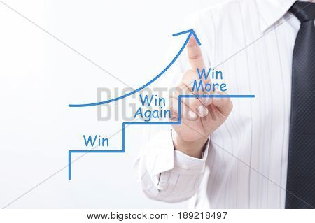 Businessman tap arrow pointing up with win win again win more concept.