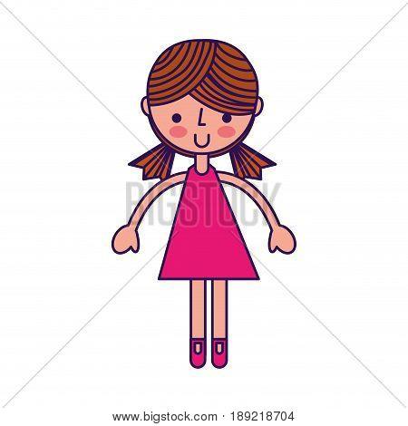 cute fuchsia girl cartoon vector graphic design