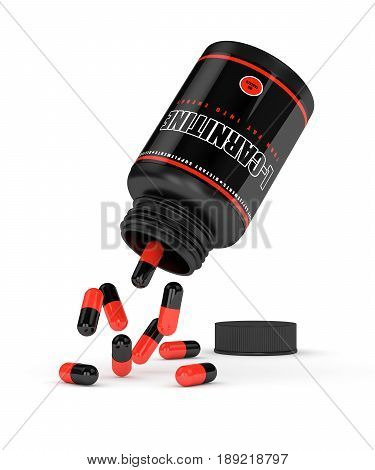 3D Render Of L-carnitine Bottle With Pills Over White