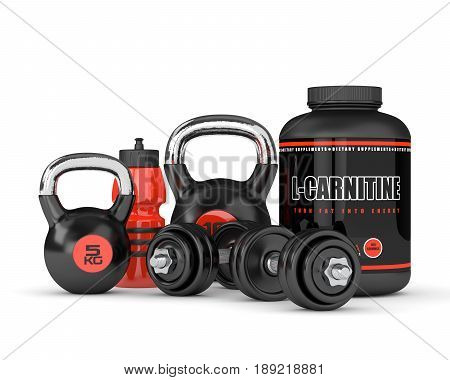 3D Render Of L-carnitine With Dumbbells And Kettlebells