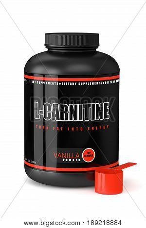 3D Render Of L-carnitine Bottle Over White
