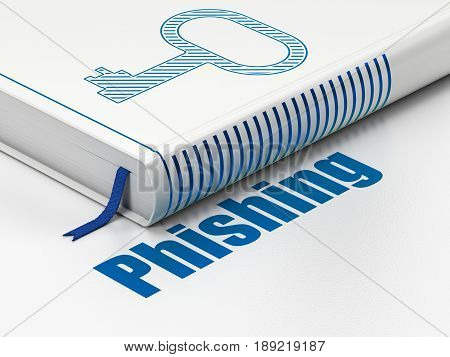 Security concept: closed book with Blue Key icon and text Phishing on floor, white background, 3D rendering
