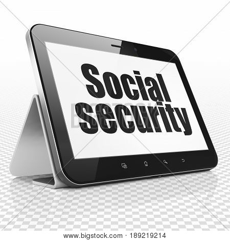 Protection concept: Tablet Computer with black text Social Security on display, 3D rendering