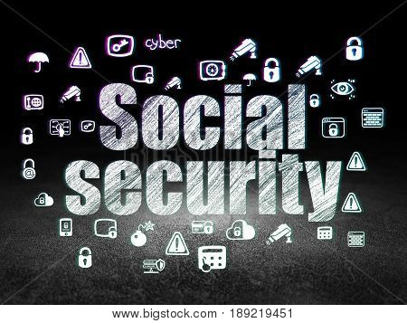 Security concept: Glowing text Social Security,  Hand Drawn Security Icons in grunge dark room with Dirty Floor, black background