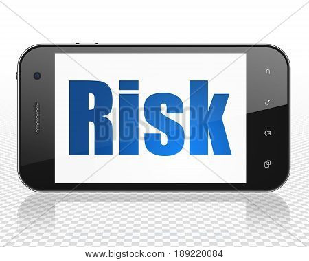 Finance concept: Smartphone with blue text Risk on display, 3D rendering