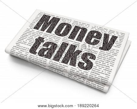 Finance concept: Pixelated black text Money Talks on Newspaper background, 3D rendering
