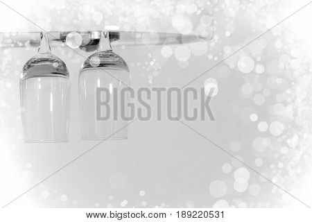 New Years Celebration theme with champagne wine holding on top bar effect light background.