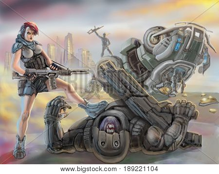 Partisan girl in armor stands over defeated stranger alien. Science fiction illustration. Freehand digital drawing. Serious warrior character in space suit. poster