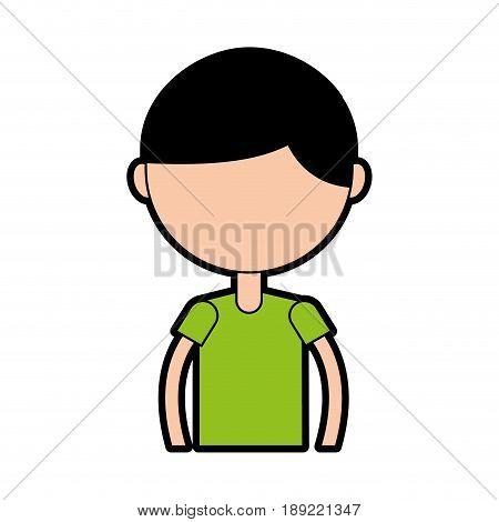cute upper body black hair boy cartoon vector graphic design
