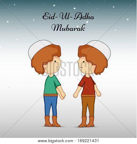 illustration of boys with Eid Ul Adha Mubarak text