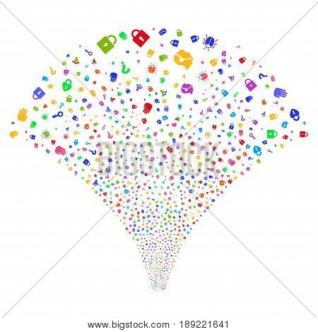 Secrecy Symbols salute stream. Vector illustration style is flat bright multicolored iconic symbols on a white background. Object source fountain organized from random icons.