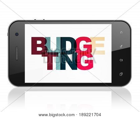 Business concept: Smartphone with Painted multicolor text Budgeting on display, 3D rendering
