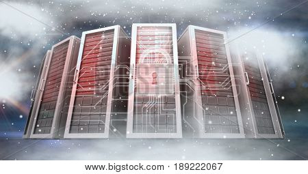Digital composite of Digitally generated image of servers and icons in sky