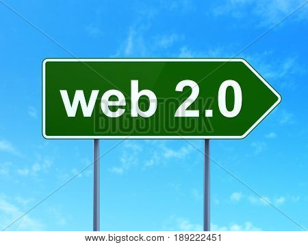 Web design concept: Web 2.0 on green road highway sign, clear blue sky background, 3D rendering