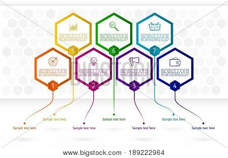 Infographics template with seven hexagon elements. Abstract colorful business hexagons with text and icons. Vector illustration eps 10