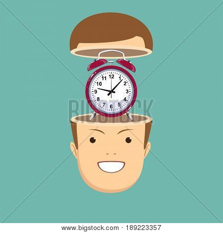 time management concept. Open minded man with alarm clock inside. Conceptual image .Stock vector illustration for poster, greeting card, website, ad, business presentation, advertisement design